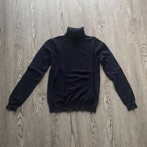H&M Navy Fitted Lightweight Turtleneck, S